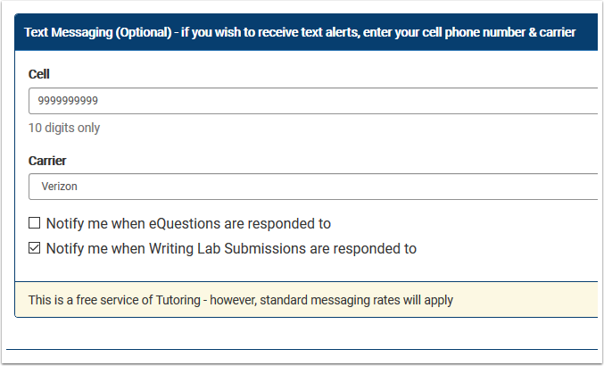 Text messaging section detail