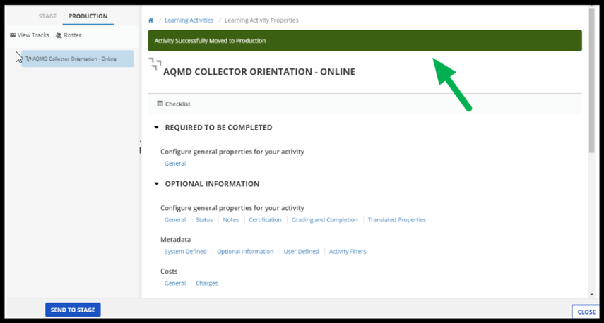 Arrow pointing to confirmation message on Learning Activity Properties page