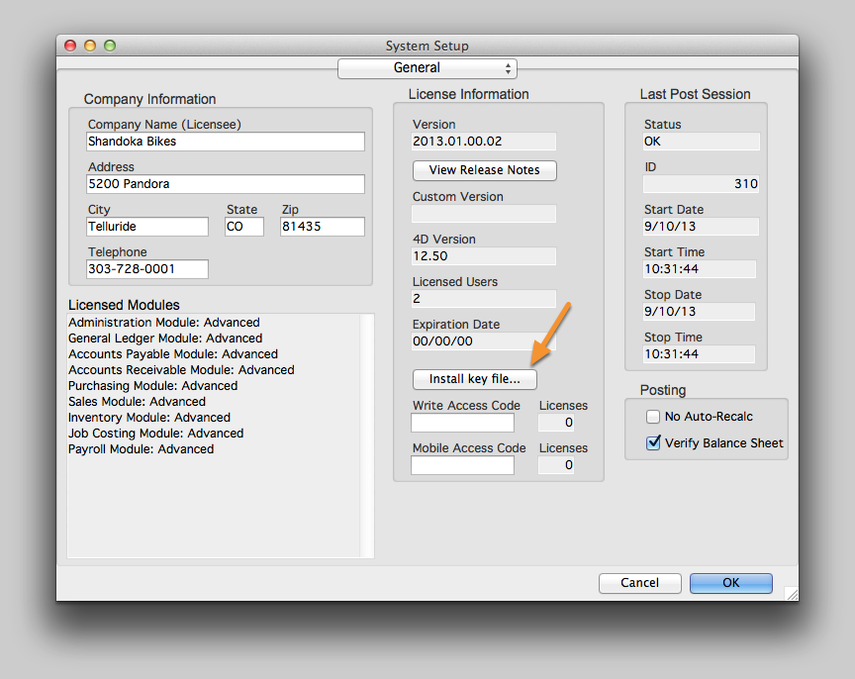 Install the AcctVantage Key File