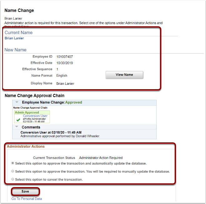 Name Change page, Administrator Actions section