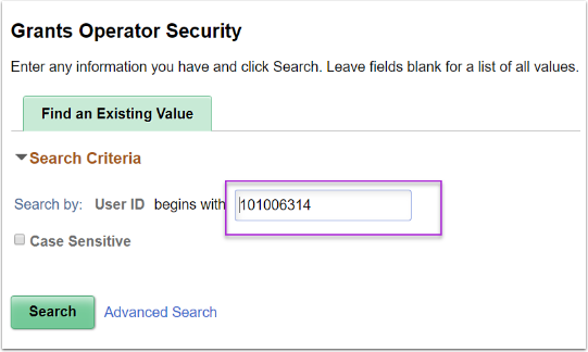 Grants Operator Security - Find an Existing Value tab