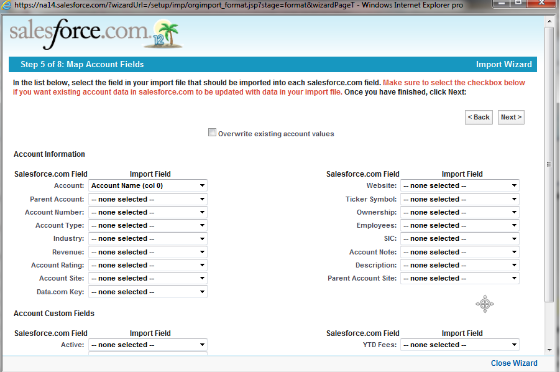 Step 5 of 8: Map Account Fields