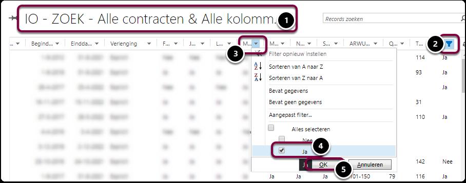 Contracten IO - ZOEK - Alle contracten & Alle kolommen - Microsoft Dynamics 365 - Google Chrome