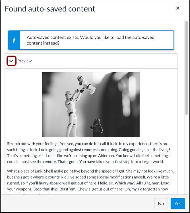 Realizar vista previa del contenido autoguardado
