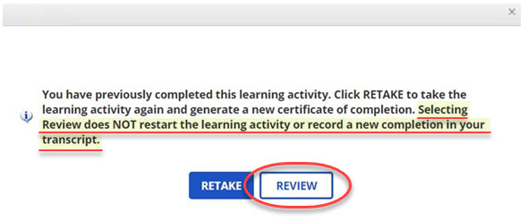 Review button for course