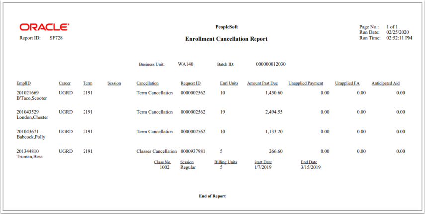 Image of the enrollment cancellation population report.