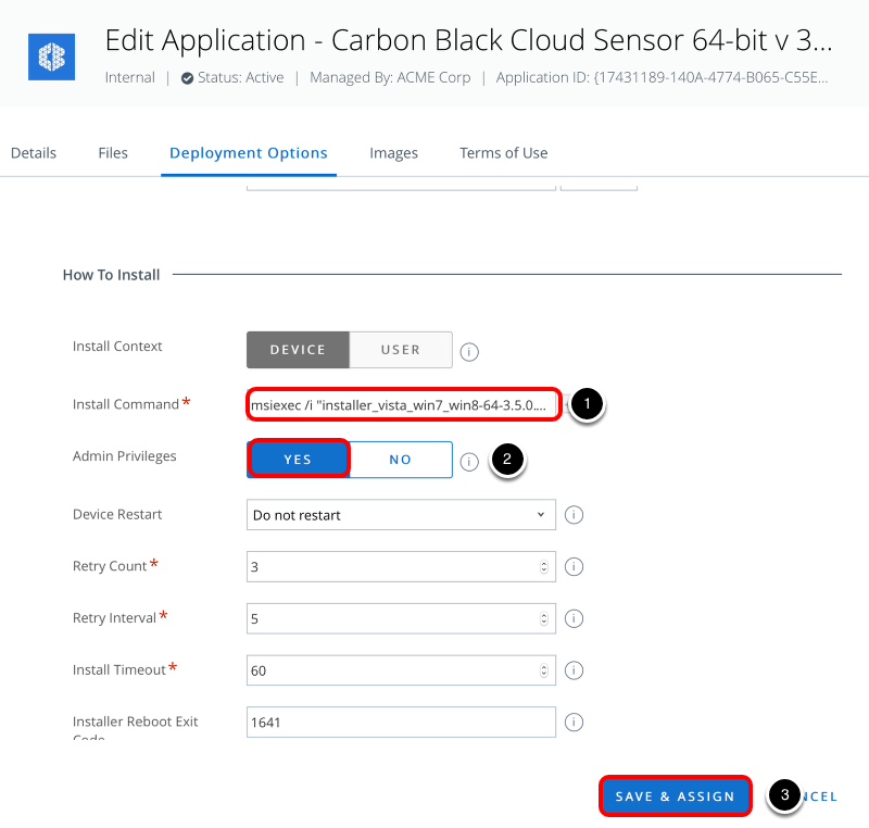 Configure carbon black Sensor deployment options in Workspace ONE UEM console
