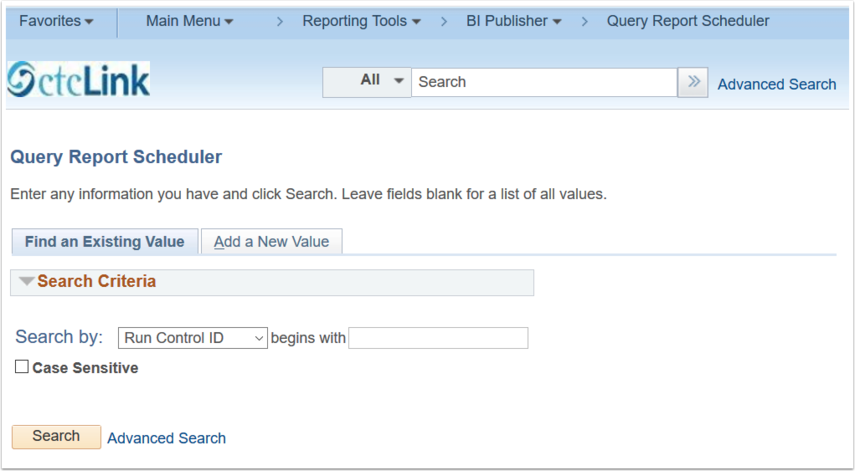 Query Report Scheduler page