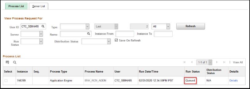 Process List page Run Status
