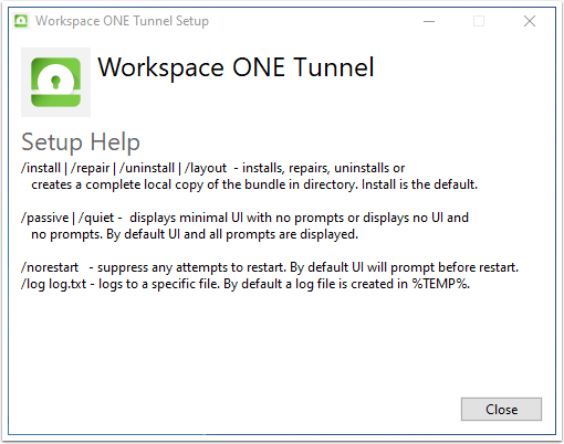 Workspace ONE Tunnel Install parameters