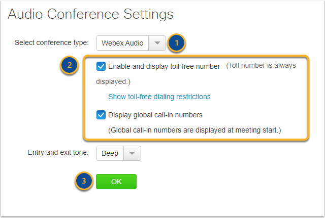 Audio Conference Settings - Google Chrome