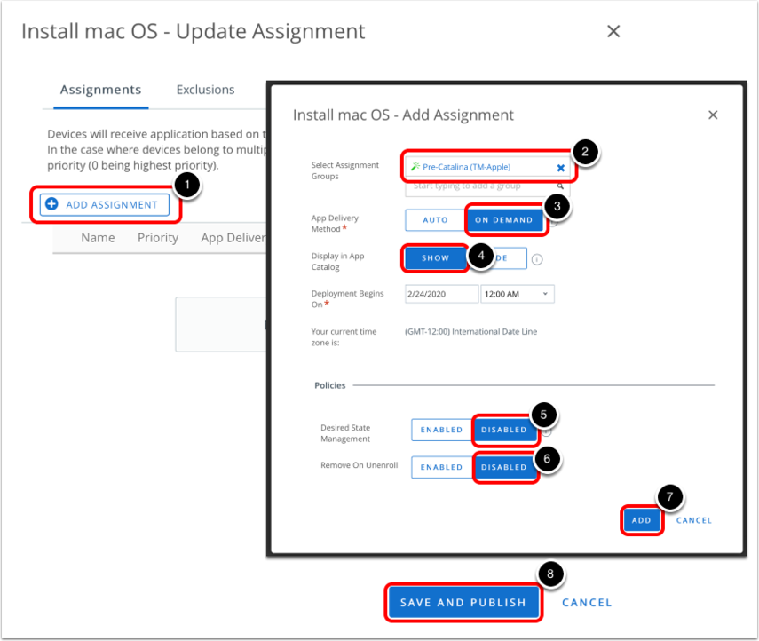 Upgrade macOS and enter assignment details in Workspace ONE Admin Console