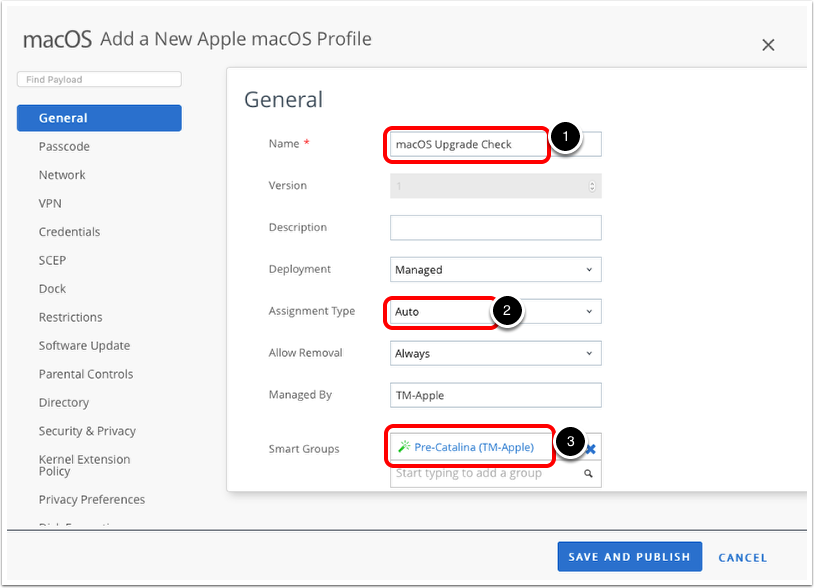 Upgrade macOS and add a new macOS profile in Workspace ONE