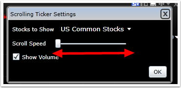 To change the scrolling speed, move the slider to the right to speed it up or to the left to slow it down.