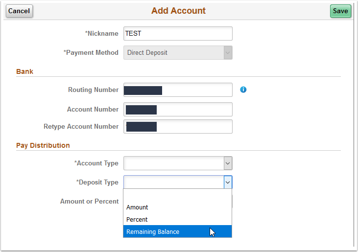 Add Account page