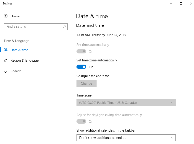 Date and Time Settings on Windows 10 Device