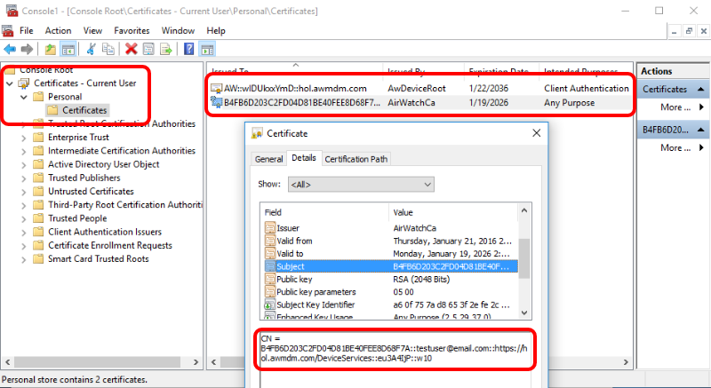Windows 10 Device Root Certificate and Application Certificate