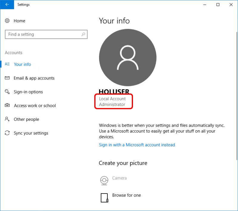 Verify administrator access on a Windows 10 device.