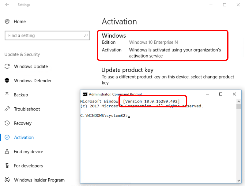Check OS Activation and Build for Windows 10