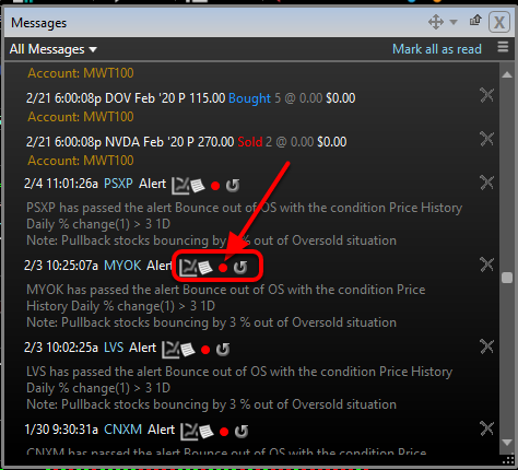3. View the details, chart, or restart an alert from the message icons.