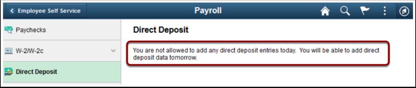 Direct deposit message