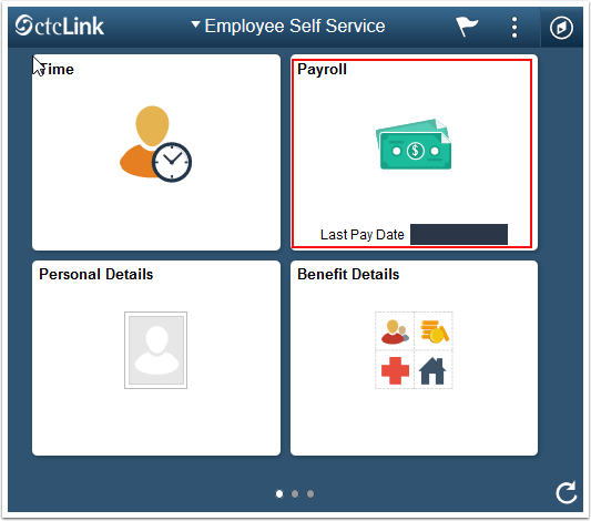 Employee self service page with tiles