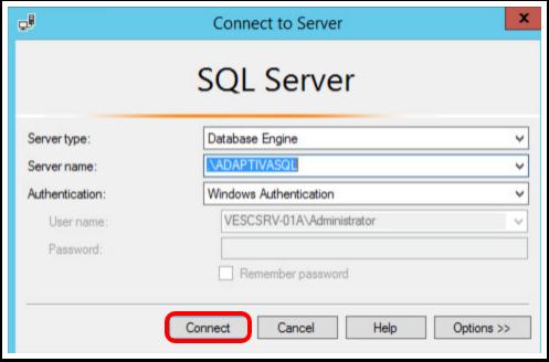 Adaptiva database connection