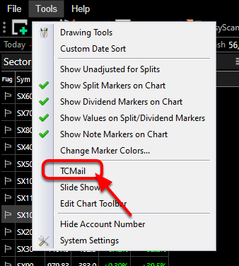 2. Click Old Features and Select TC Mail.