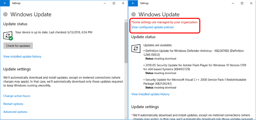 Validate that the Windows update values are correct when troubleshooting Windows 10.