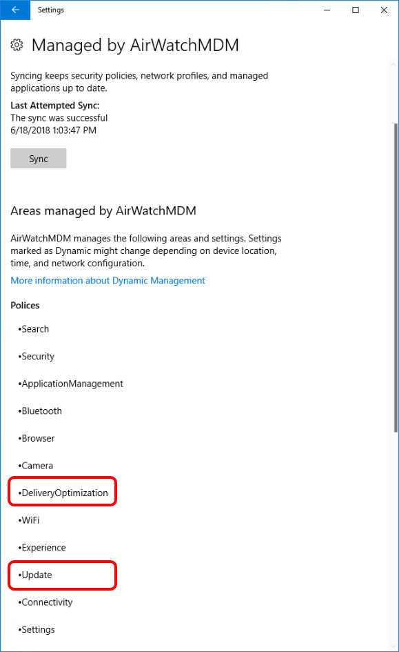 Validate that the Device Received the Windows 10 Updates Profile when troubleshooting Windows 10.