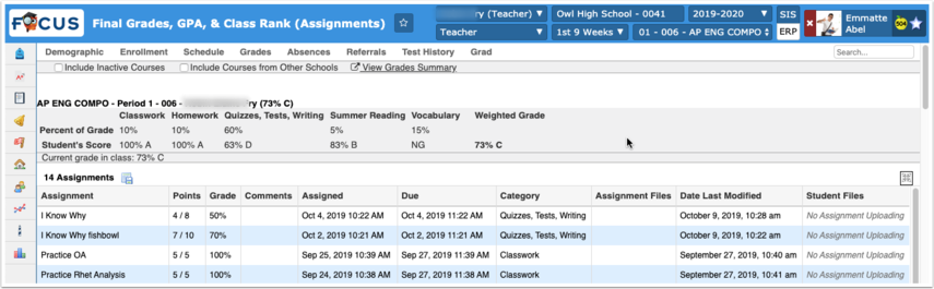 Final Grades, GPA, & Class Rank (Assignments)