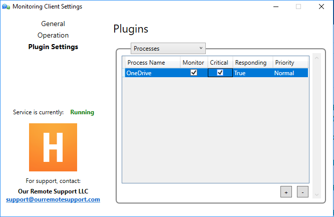 Processes Plugin Control Panel