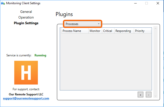 Control Panel > Plugin Settings > Processes