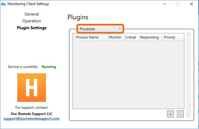 Control Panel > Plugin Settings > Processes
