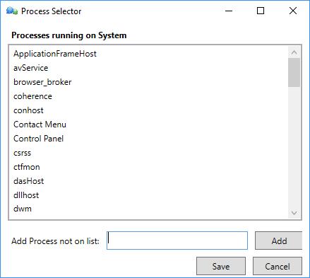 Process Selector Dialog