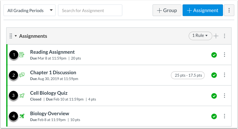 View Assignment Types