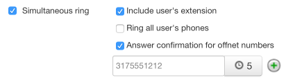 Simultaneous Ring - Answer confirmation for offnet numbers