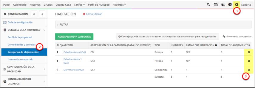 DEMO - Colombian Highlands - Configuración - Categorías de alojamientos - Google Chrome