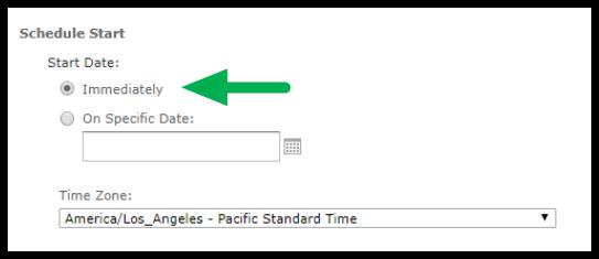 Schedule Start options