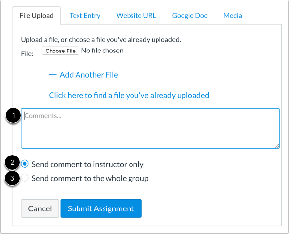 Select Comment Option