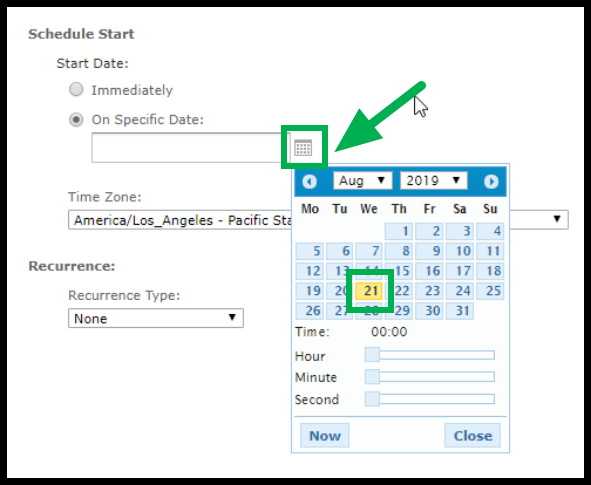 Schedule Start options. Arrow pointing to calendar icon