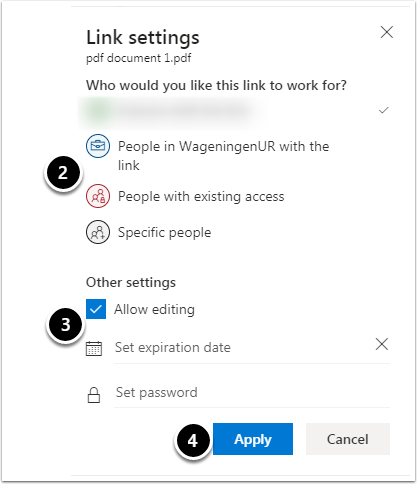 Link settings share with an individual