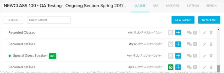 Class list with a Live badge next to a class