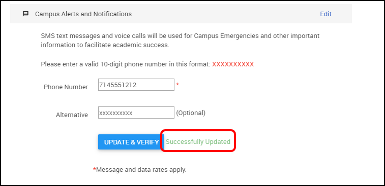 campus alerts and notifications preferences