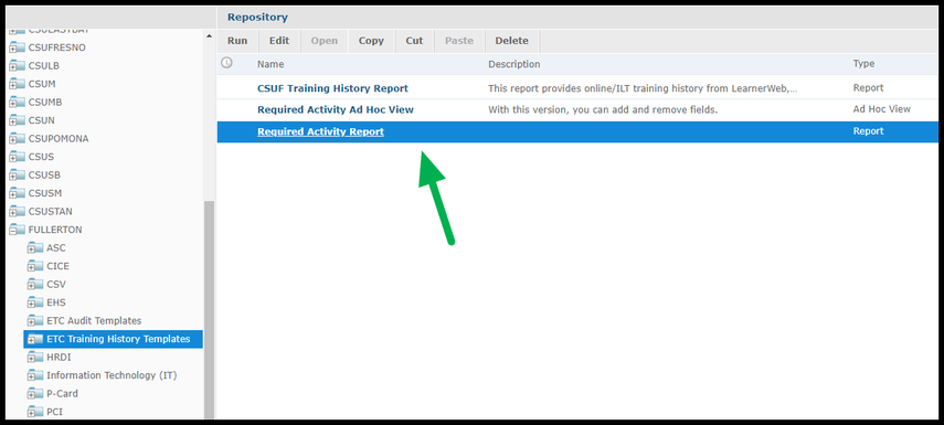 Arrow pointing to Required Activity Report