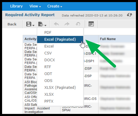 Arrow pointing to Excel option