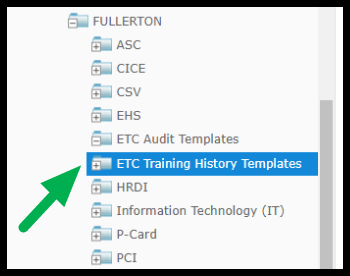ETC Training History Templates selected
