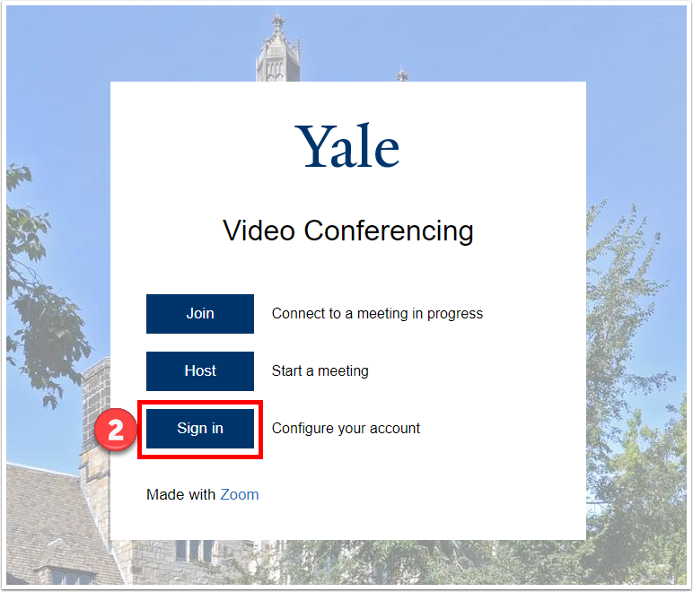 Sign in to yale.zoom.us