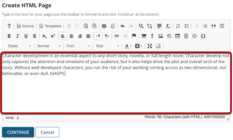 Image of text in the rich text editor.
