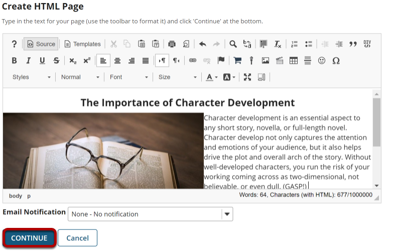 Image of HTML page in the rich text editor